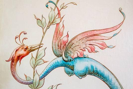 Detail van een schildering.