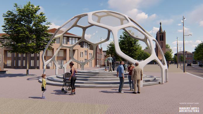 Het ontwerp van Sina Karimian is één van de zes ontwerpen voor een muziekkiosk op de Markt in Valkenswaard, waarmee de stichting Burger Initiatief Muziek Kiosk Valkenswaard de inwoners gaat benaderen.