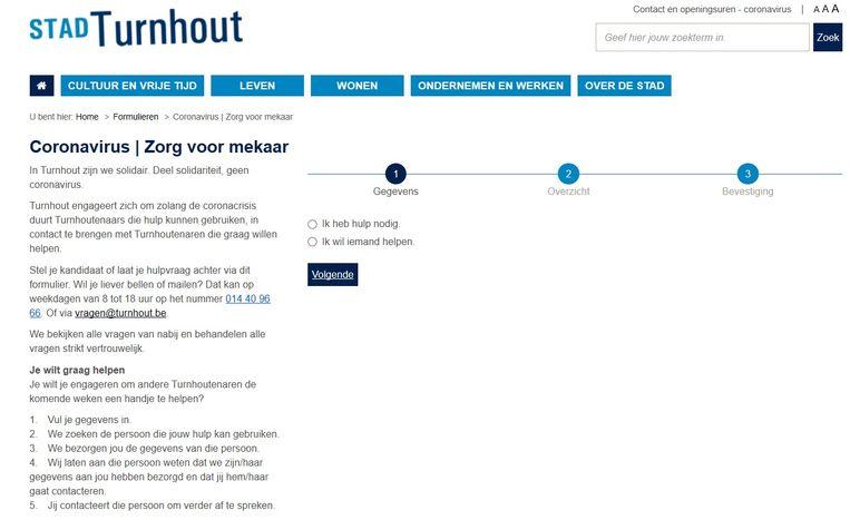 Screenshot van het onlineformulier.