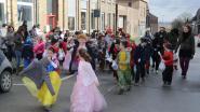 Leerlingen Vrije Basisschool trekken verkleed door dorp