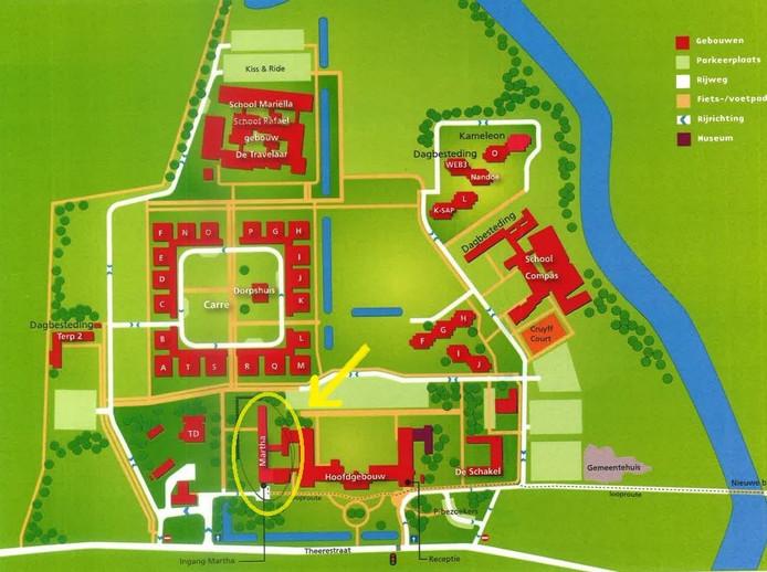 De opvang komt in gebouw Martha op het Kentalisterrein (zie omcirkeld gebied met pijl).