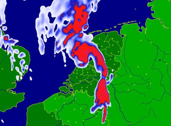 De voorspelling van de zware buien die vanavond over Nederland trekken.