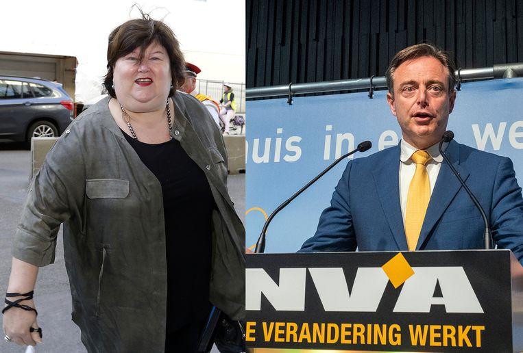 Minister van Volksgezondheid Maggie De Block (Open Vld) en N-VA-voorzitter Bart De Wever.