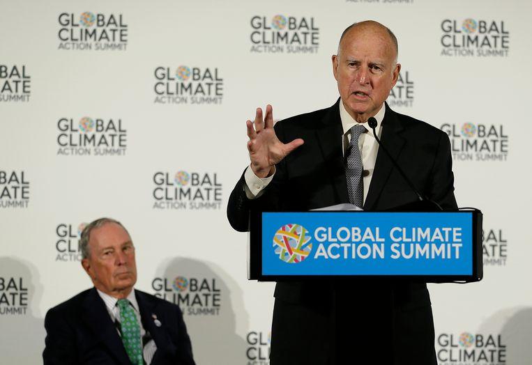 Gouverneur van Californië Jerry Brown spreekt op de door hemzelf georganiseerde klimaattop. Beeld AP