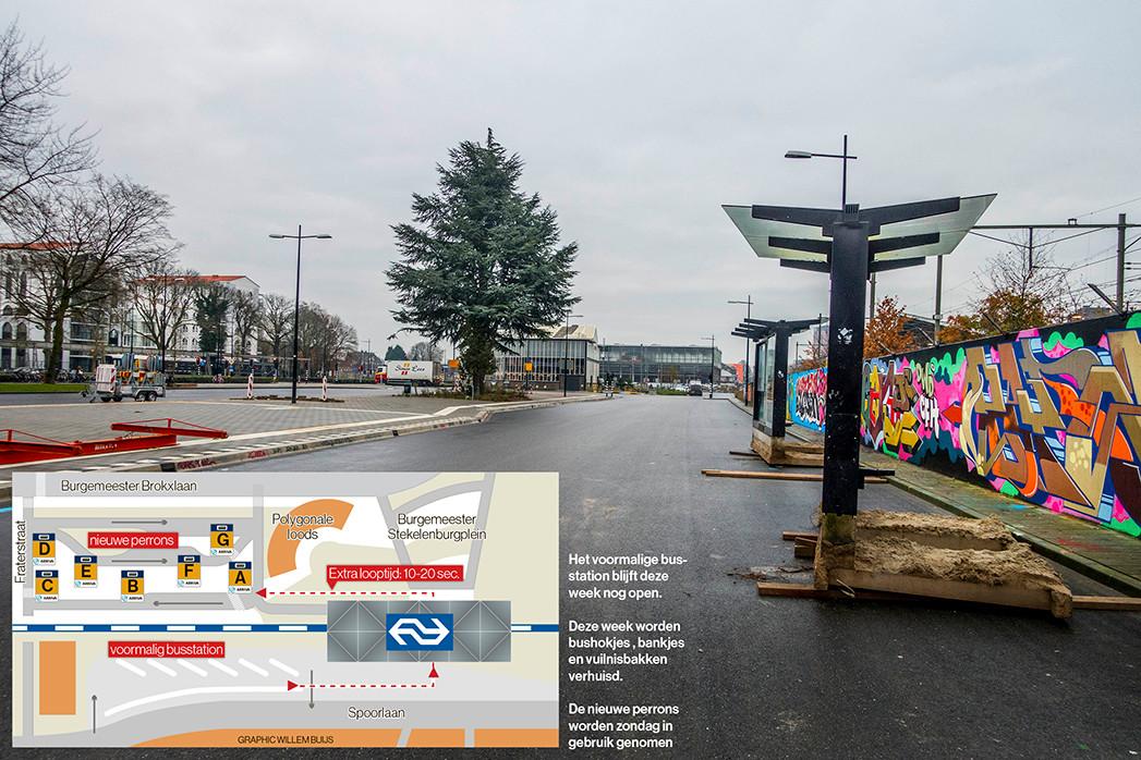 Vanaf het tijdelijk busstation aan de Brokxlaan vertrekken zondag de bussen.