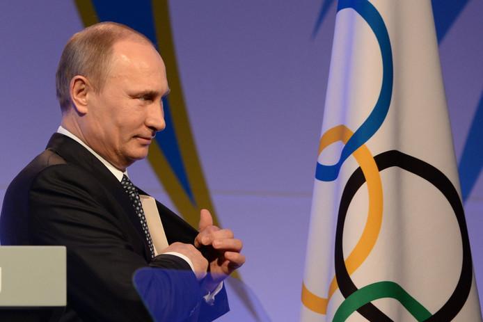 De Russische president Vladimir Poetin bij de Olympische Winterspelen in Sotsji in 2014.