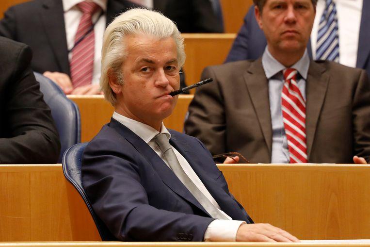 Geert Wilders (PVV) tijdens het wekelijks vragenuur in de Tweede Kamer.  Beeld ANP