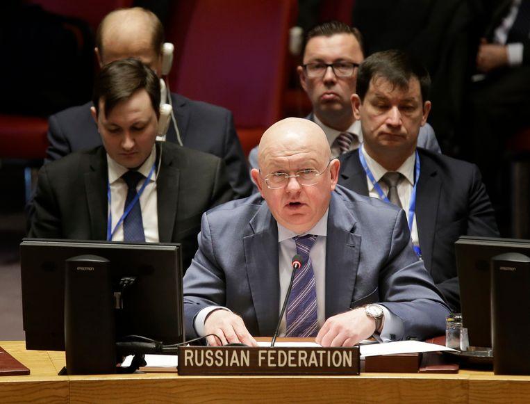 De Russische VN-ambassadeur Vassily Nebenzia.