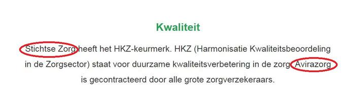 Op de website van Stichtse Zorg wordt gesproken over Avirazorg.