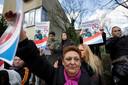 Februari 2014: demonstranten in Leiden nadat bekend werd dat Benno L. daar was komen wonen.