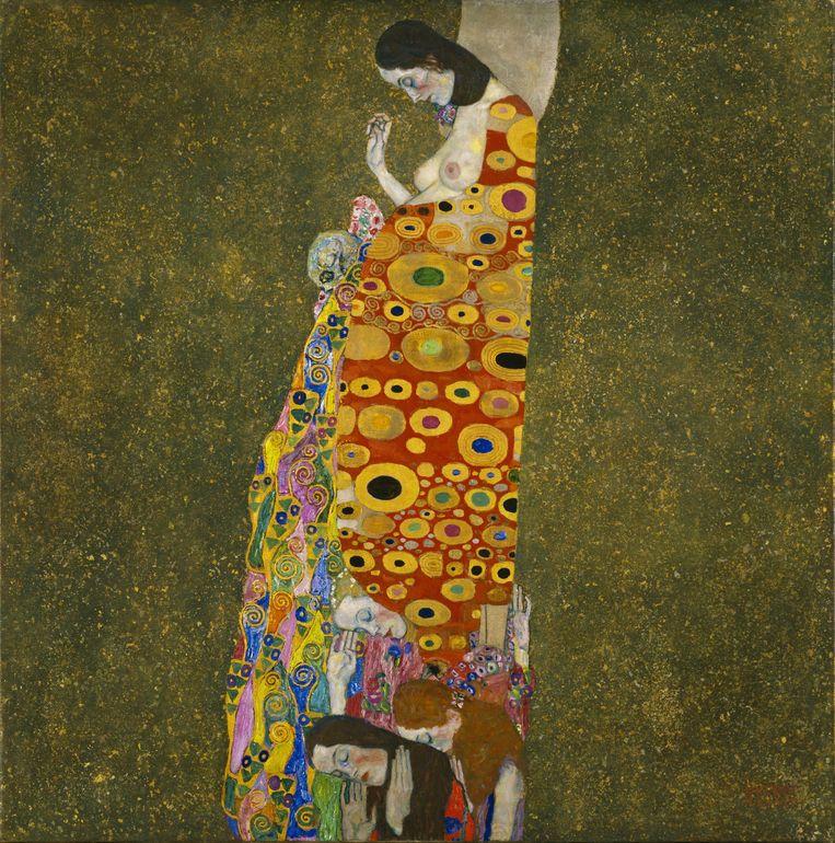 Schilderij: Hope II. 'Klimt baseerde zijn patronen op molecuulstructuren.' Beeld Hollandse Hoogte