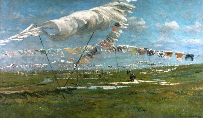 Franz Courtens, Linge en prairie, 1892. Olieverf op doek, 110 x 190 cm, particuliere collectie