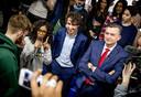 Lijsttrekkers Jesse Klaver (GroenLinks), Emile Roemer (SP) en Sylvana Simons (Artikel1) in gesprek met scholieren voor het tv-programma De Stembus met presentator Tim Hofman.