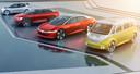 Een beeldimpressie van de nieuwe e-modellen die VW wil lanceren.
