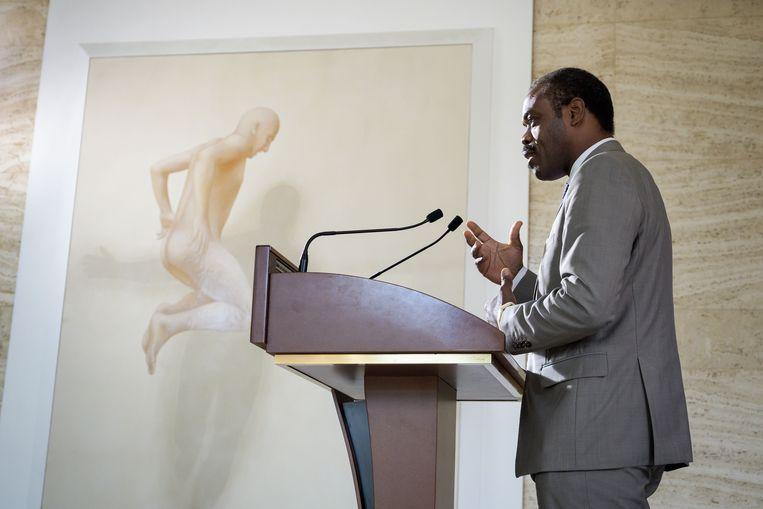 Oly Ilunga spreekt tijdens een persconferentie na een bijeenkomst van de Verenigde Naties over ebola.  Beeld AFP