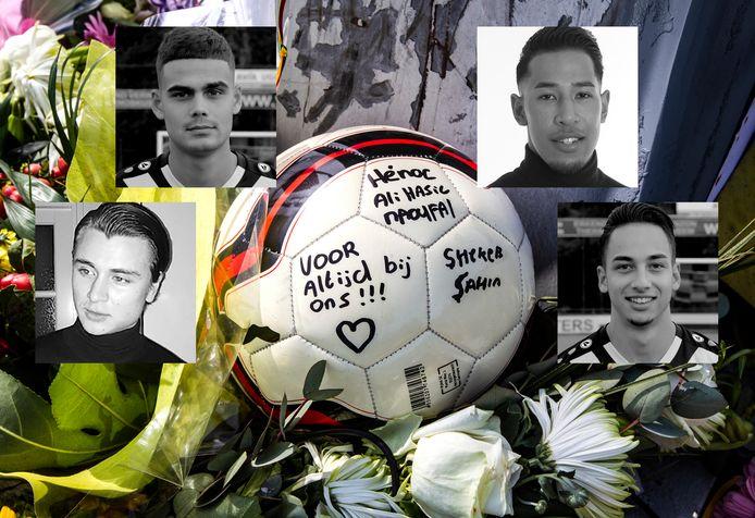 Ömer Dogan Jeroen van Beek Brandon Leatemia Damian Echter: de voetbalvrienden kwamen om bij een noodlottig ongeval op de A1 bij Deventer