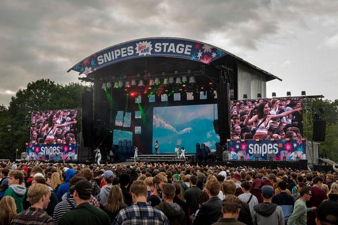 Woo Hah! is uitgegroeid tot een van de grootste hiphopfestivals van Europa. Op de foto Brockhampton op het podium van de Snipes Stage tijdens de editie van 2019.