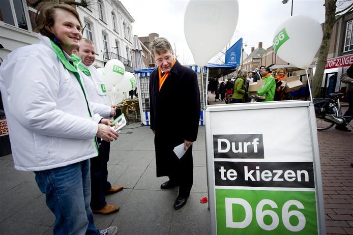 Campagnejassen van D66 bij eerdere acties. (archieffoto)