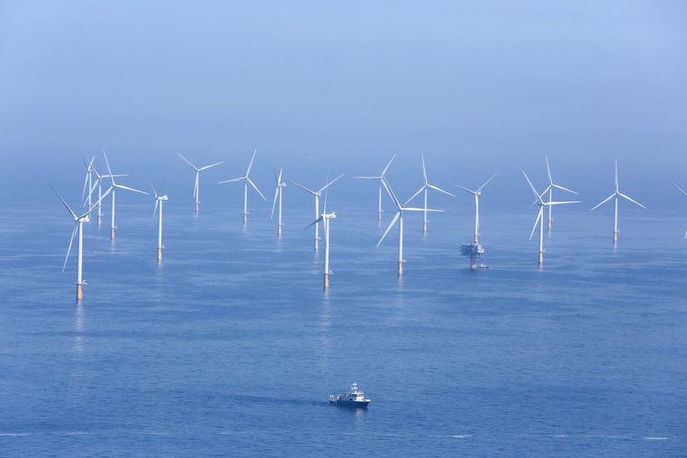 Een luchtbeeld van een deel van de Thorntonbank voor de kust van Zeebrugge.