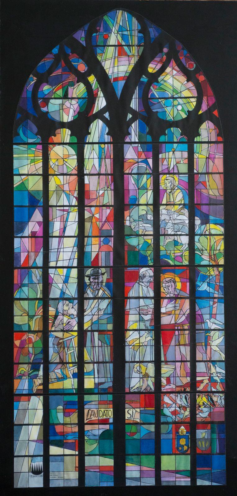 Het nieuwe glasraam in de kathedraal