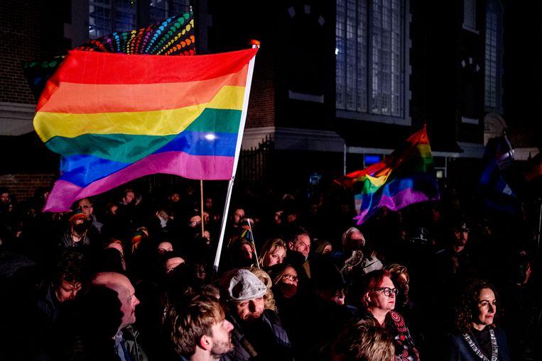 AMSTERDAM - Burgemeester Femke Halsema tijdens de Viering van de Liefde. De manifestatie op het Homomonument wordt gehouden in reactie op de orthodox-protestantse Nashville verklaring, waarin homoseksualiteit wordt afgewezen. ANP ROBIN UTRECHT Beeld Hollandse Hoogte /  ANP