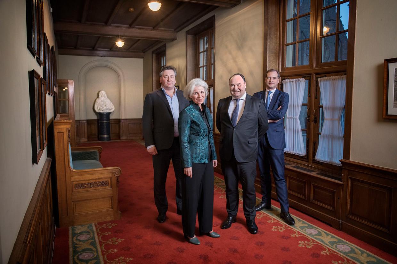 Bestuursleden van GO (Groep Otten), van links naar rechts: Robert Baljeu, Dorien Rookmaker, Henk Otten en Jeroen de Vries.