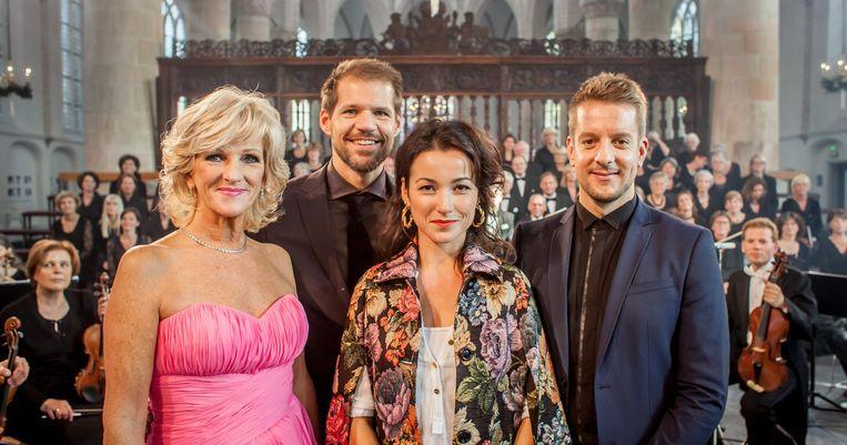 Tineke Schouten, René van Kooten, Birgit Schuurman en Alex Klaasen in Messiah masterclass. Beeld null
