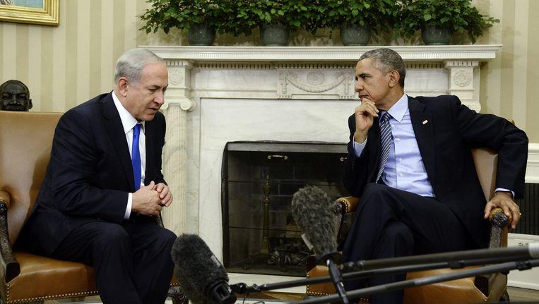 De Israëlische premier Benjamin Netanyahu op bezoek bij de Amerikaanse president Barack Obama. Beeld epa
