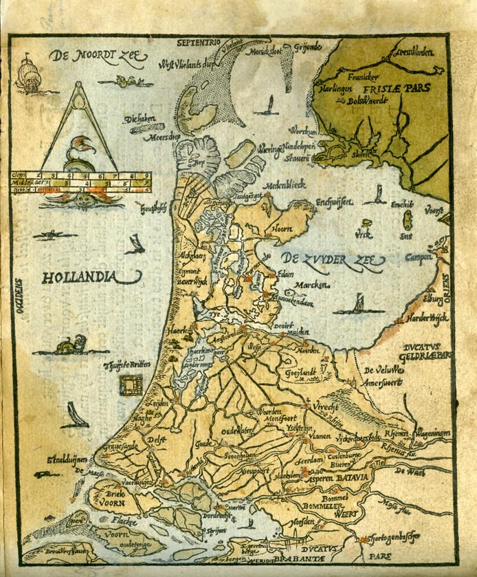 Een historische afbeelding van de Zuiderzee. Aan de kustlijn rechts de voormalige vissersplaatsen Elburg en Harderwijk.