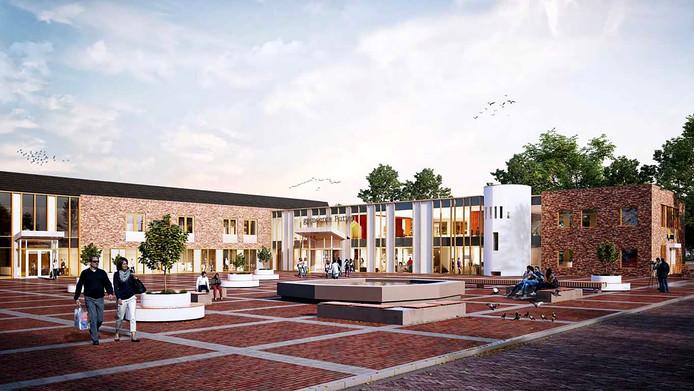 Na de renovatie zal de voorgevel van het gemeentehuis in Putten er ongeveer zo uit kunnen zien.