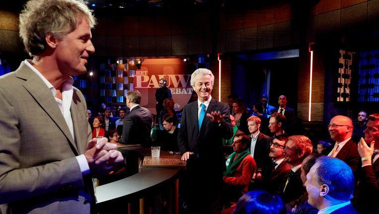 Presentator Jeroen Pauw en PVV-leider Geert Wilders tijdens het debat bij Pauw, 11 maart 2015, Beeld anp