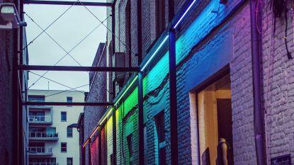 Citroenstraatje kleurt (alleen bij duisternis) in de regenboogkleuren voor de Internationale Dag tegen Holebifobie en Transfobie