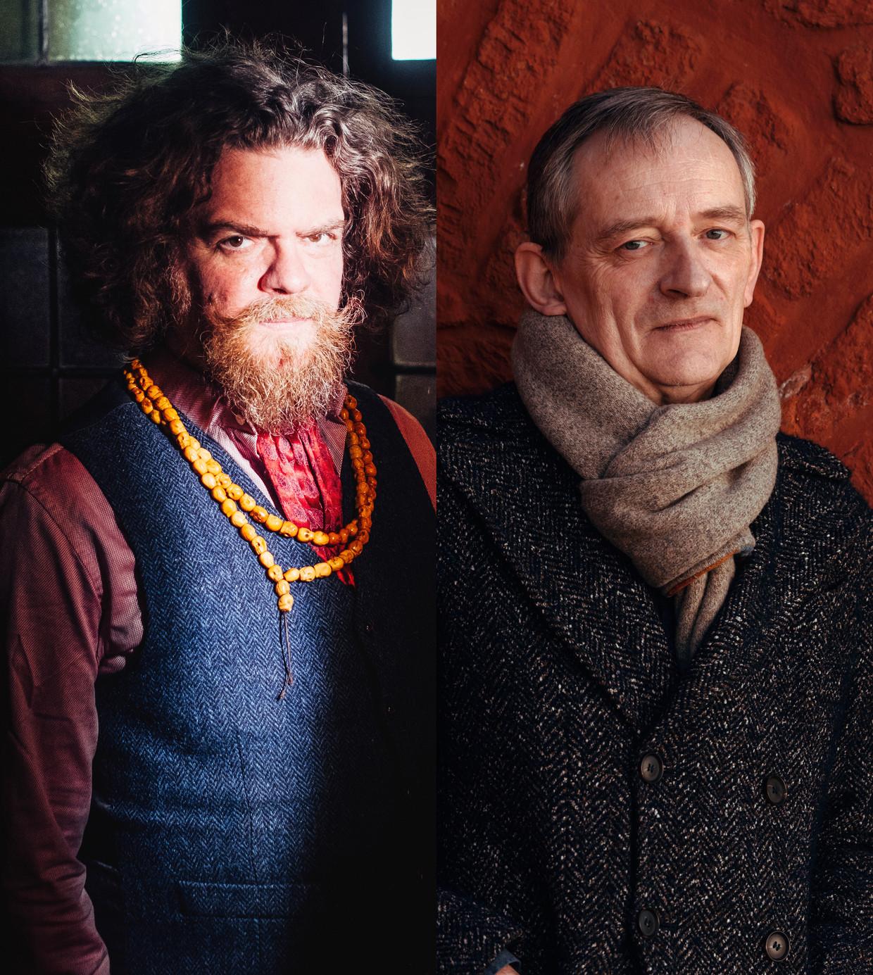 Jeroen Olyslaegers (l) en Erwin Mortier.