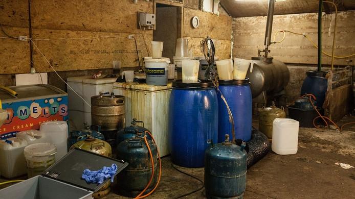 Het drugslab dat de politie in maart 2017 ontmantelde in Odijk.