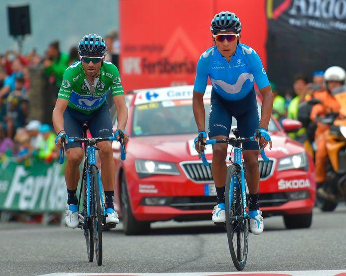 Valverde (l) samen met Quintana.