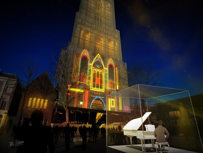 De verlichte Domtoren, waarbij de projecties bewegen op de muziek van een pianist.