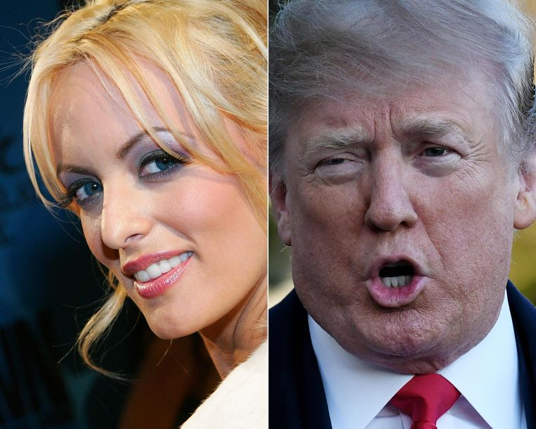 Pornoactrice Stormy Daniels zegt dat zij een affaire met Trump heeft gehad, hij ontkent.