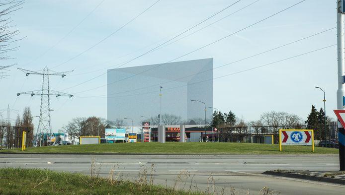 Zo zou het grote prisma op de rotonde Industrielaan-N264 eruit kunnen zien.
