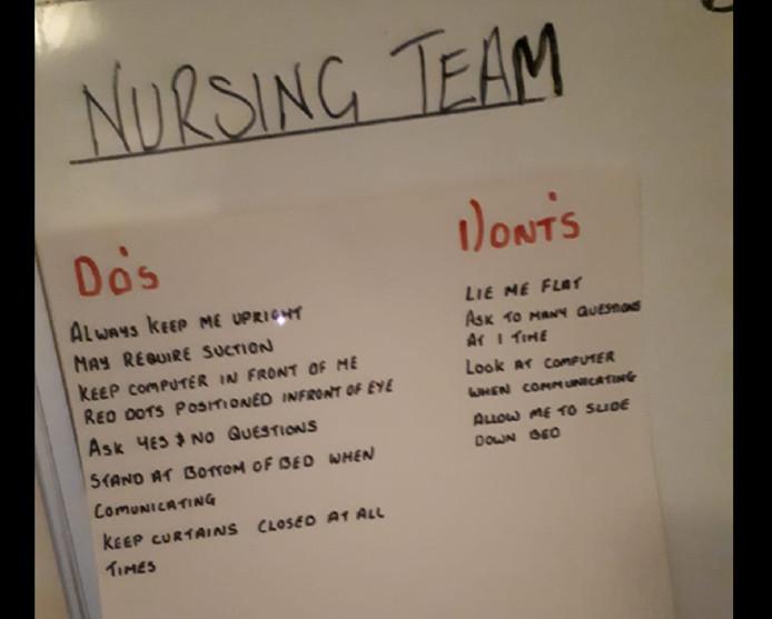 Het briefje met instructies dat de verpleegster over het hoofd zag waardoor Ricksen moest vechten voor zijn leven.