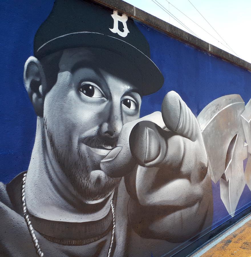 Remco van den Beemd, voorzitter van 'The Loods' als graffiti. Foto Alfred de Bruin