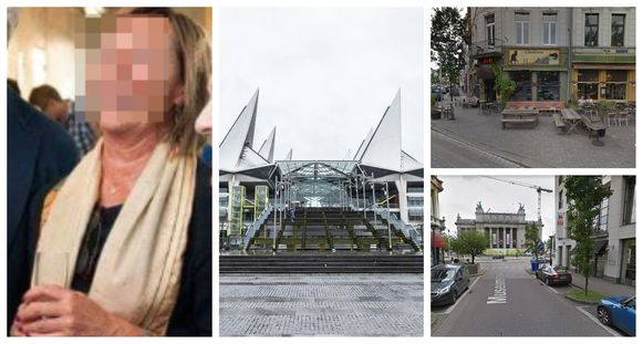 Rechter Caroline M. op een receptie. Foto midden: het Vlinderpaleis, het Antwerpse justitiepaleis. Foto rechtsonder: in de Museumstraat botste de rechter tegen een container. Foto rechtsboven: in de nabijgelegen Graaf Van Hoornestraat schampte ze twee geparkeerde wagens.