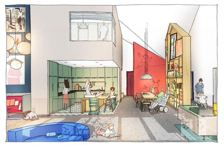 De ontwerpen van de ontvangsthal en de zogenoemde leefkeuken van het nog te bouwen Jeroen Pit Huis.  Beeld ontwerp: bureau concrete