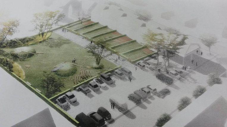 Een beeld van hoe het plein er zal uitzien.