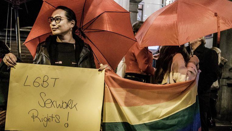 Sekswerkers protesteerden bij De Balie. Beeld Joris van Gennip