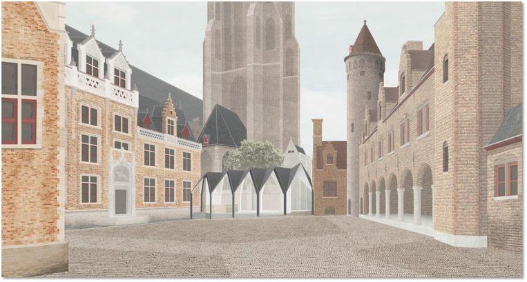 Zo moet het nieuwe onthaalpaviljoen op de Gruuthusesite eruit zien.