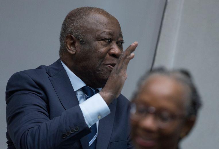 De voormalige president van Ivoorkust, Laurent Gbagbo, voorafgaand aan de beslissing voor vrijlating in het Internationaal Strafhof.  Beeld AP