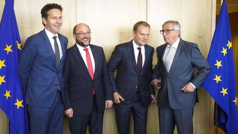 Vier van de 'vijf presidenten' van Europa (van links naar rechts): eurogroepvoorzitter Dijsselbloem, Europees Parlementsvoorzitter Schulz, EU-president Tusk, voorzitter Juncker van de Europese Commissie. Beeld ANP