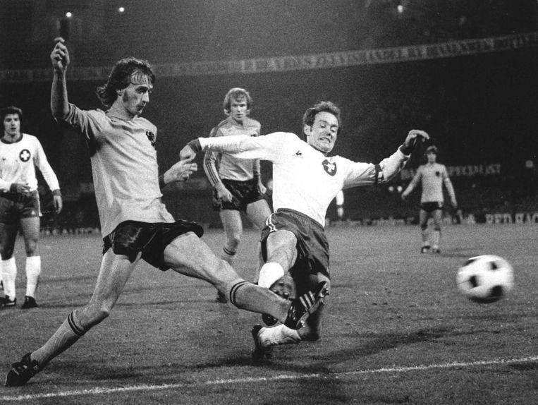 Rob Rensenbrink als international in 1974 tegen Zwitserland. Beeld ANP