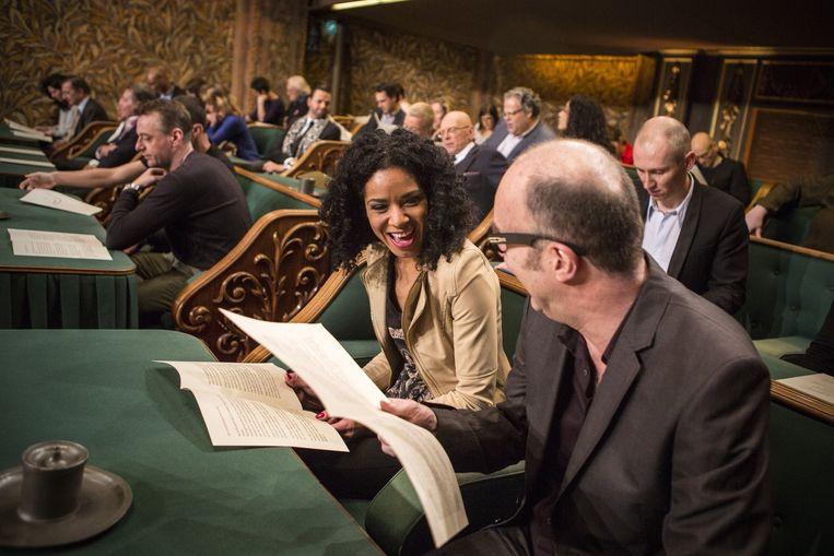 Bart Chabot tijdens het Groot Dictee van 2013. Beeld Julius Schrank