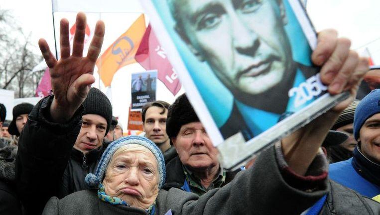 Demonstratie tegen het verloop van de verkiezingen. Beeld anp